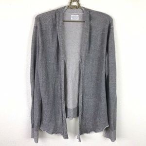 All Saints Saya Cardigan Gray Open Front Linen